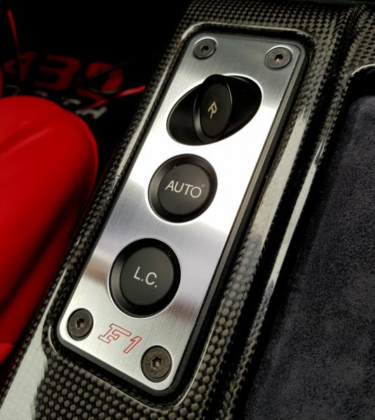 1 Aluminium Dekorblende mit F1 Gravur für die Schalterleiste