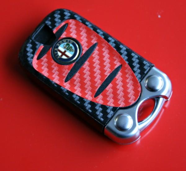 #4 Schlüsselfolie in Carbonoptik Alfa Romeo Modelle Rot-schwarz