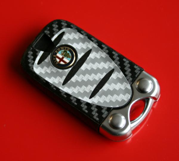 #3 Schlüsselfolie in Carbonoptik Alfa Romeo Modelle Silber-schwarz