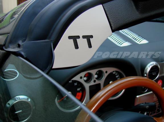 1 Set Aluminium Dekorblenden für den Windschutzscheibenrahmen mit TT Logo