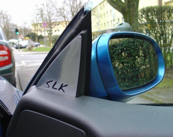 1 Set Aluminium Zierblenden für die Spiegeldreiecke inkl. SLK Logo