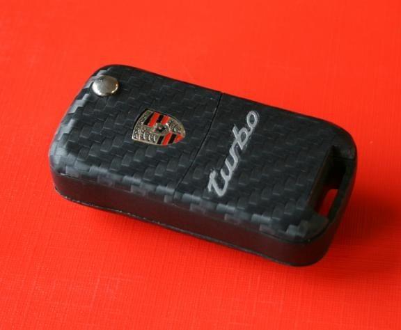 #7 Schlüsselfolie in Carbonoptik Porsche Modelle mit TURBO Prägung