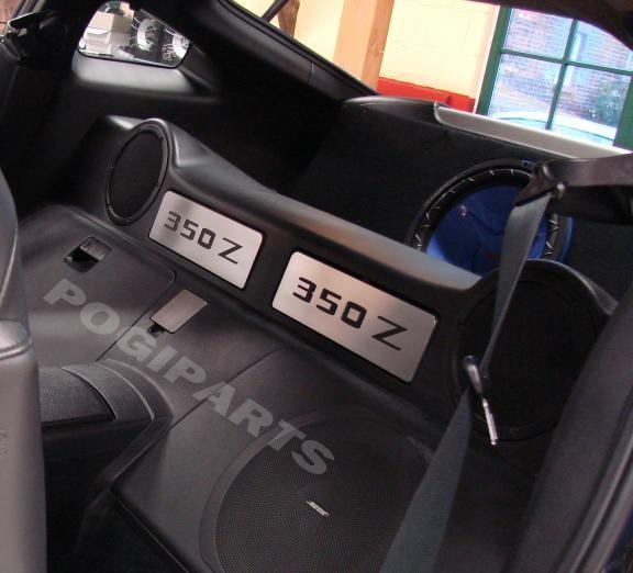 1 Set Aluminium Dekorblenden für die Staufächer hinter den Sitzen inkl. Ausschnitt 350Z
